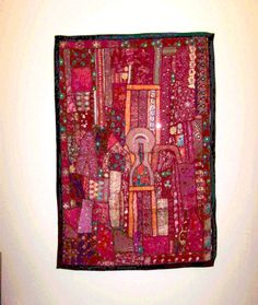 Indian Red Patchwork Handmade Large Quilt by PrintBlockStamps
