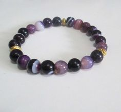 Purple Agate Gemstones and Gold Accented Stretch Beaded Bracelet on Etsy, $20.00