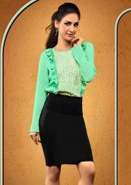 Casual Wear  Crepe Mint Embroidered Work Top