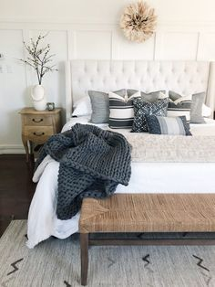 Board & batten and neutral bedding combined with beautiful throw pillows in this relaxing master bedroom. Home Tour – The Heart and Haven Relaxing Master Bedroom, Bedding Master Bedroom, Master Bedroom Design, Dream Bedroom, Home Decor Bedroom, Relaxing Bedroom Colors, Condo Bedroom, Neutral Bedding, White Bedding