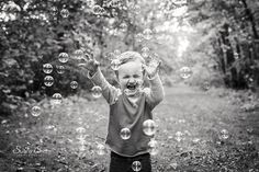 BUBBLES!  Fun with toddlers during outdoor portraits.