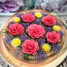 3D jelly art peach base camellias and daisies
