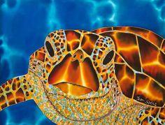 Jean-Baptiste.com Silk Painting of a sea turtle