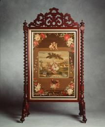 89/1429 Firescreen, Berlin woolwork, wood / wool, tapestry stitched by Louisa Peterson, Maryborough, Queensland, Australia, 1882. - Powerhouse Museum Collection