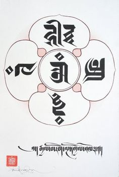 TIBETAN SCRIPT: The Five Wisdom Buddhas