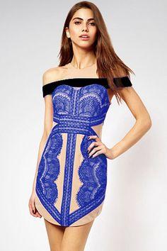 Brand Cut-away Shoulder Blue Eyelash Lace Vintage Dress Dance Elegant Dresses