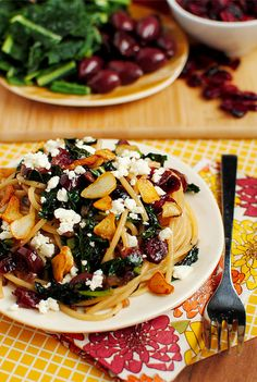 TheBestPastaEver...with toasted garlic, dried cranberries, kale, kalamata olives and Feta