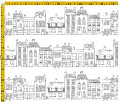 A large scale pen and ink drawing which would suit curtains, blinds and bedding. You could colour it in with fabric paints if you feel so inclined. A take on the buildings in Totnes the town I live in - Christmas Drawings 🎅 Ink Pen Drawings, Cool Drawings, Simple Drawings, House Doodle, Decoration Vitrine, House Drawing, Town Drawing, Cute Doodles, Curtains With Blinds