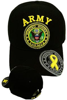 98dc62b00 U.S. Army Hat Black Logo Baseball Cap with Yellow Ribbon Military Headwear  Yellow Ribbon Military