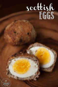 Scottish Eggs Scottish Eggs are a delicious take on breakfast. Egg wrapped in sage breakfast sausage, then dipped in egg, and then fried? Scottish Dishes, Scottish Recipes, Irish Recipes, British Dishes, Sausage Breakfast, Breakfast Dishes, Breakfast Recipes, Great Recipes, Favorite Recipes