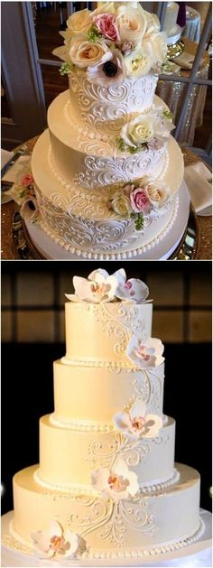 vintage elegant wedding cake #weddings #weddingcakes #cakes #rosesandrings #vintageweddings