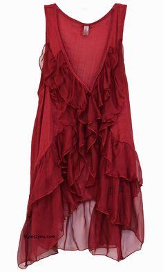 Virgie Ruffle Vest In Dark Red