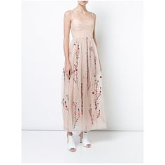 Adam Lippes Silk Organza Bustier Gown With Floral Applique  PreOrder ($3,450) ❤ liked on Polyvore featuring dresses, gowns, neutral, white floral gown, floral embroidered gown, floral dresses, floral gown and white embroidery dress
