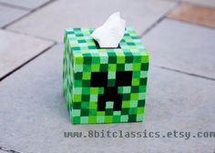 Minecraft Creeper Tissue Box Cover by 8bitclassics on Etsy, $35.00