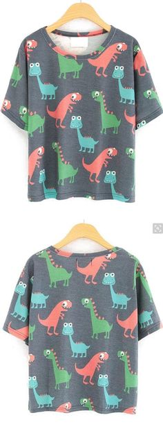 Super cute dinosaur print t-shirt. How can the dinosaur be designed so cute? Want to keep this dinosaur as a pet. Find it at romwe.com with 55% off 1st order.