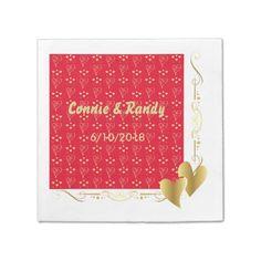Elegant Red and Gold Valentine's Wedding Napkin Standard Cocktail Napkin