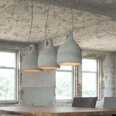 Trio of scandi industrial Concrete Light, Concrete Ceiling, Kitchen Pendant Lighting, Kitchen Pendants, Ceiling Lamp, Ceiling Lights, Industrial Style, Industrial Design, Sweet Home