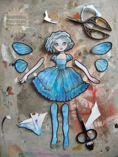 Original watercolor painting fairy girl articulating paper doll. Ready to be assembled! by nati