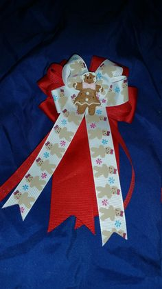 Gingerbread Cheer Style Christmas Bow by GumpiegirlsGifts on Etsy