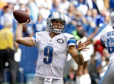 Detroit Lions quarterback Matthew Stafford (9) throws against the Indianapolis Colts during the first half of an NFL football game in Indianapolis, Sunday, Sept. 11, 2016.