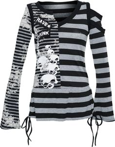 Punk Rave striped long-sleeve women's top