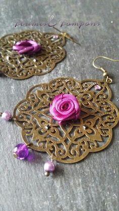 Boucles d'oreilles romantiques roses