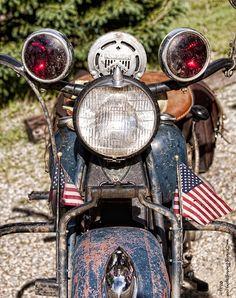 "Old ""Indian"" Harley Davidson Police Motorcycle close-up."