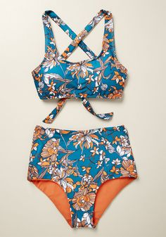 Sunday Dive High-Waisted Bikini Bottom in Teal Floral - білизна - Plus Size Bikini Bottoms, Women's Plus Size Swimwear, Curvy Swimwear, High Waisted Bikini Bottoms, Women's Bottoms, Cute Swimsuits High Waisted, Lingerie, Bikini Sets, Bikini Top