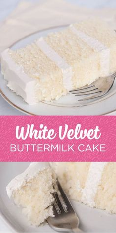 "White velvet cake gets it's flavor and velvety texture from buttermilk. A moist, tender cake that is great for any special occasion. This recipe makes two 8"" round cakes about 2"" tall. Serves 24 Bake at 335F for 30-35 minutes until a toothpick comes out cleanly."