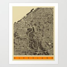 Buy Cleveland Map by Jazzberry Blue as a high quality Art Print. Worldwide shipping available at Society6.com. Just one of millions of products available.