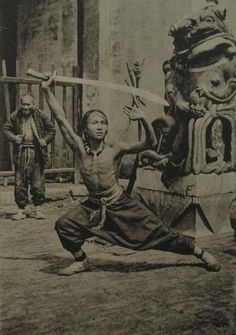 """A Shanghai """"sword dancer"""" demonstrates some forms, taken in the 1930's."""