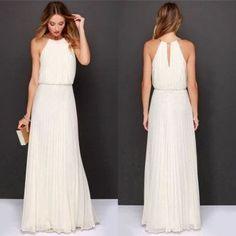 vestido largo elegante sin mangas de gasa con cintura alta de noche de fiesta para Mujer-blanco