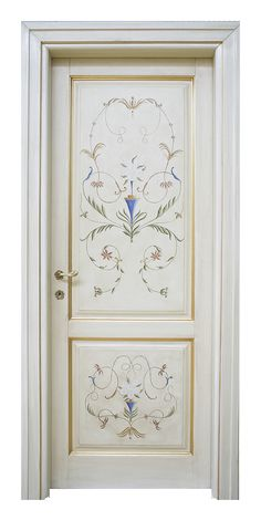 Florence - Classic door decorated by hand Painted Interior Doors, Door Design Interior, Painted Doors, Wooden Doors, Hand Painted Furniture, Paint Furniture, Home Decor Furniture, Glass Door Coverings, Deco Paint