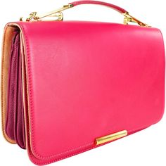 This lively shoulder bag by Emilio Pucci is a contemporary high-fashion purse for any occasion. The bold pink of the fine calf leather of this shoulder bag is perfectly accented by the goldtone hardwa