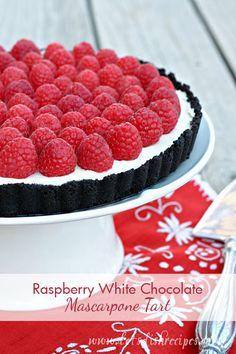 Raspberry White Chocolate Mascarpone Tart on MyRecipeMagic.com