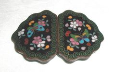 This beautiful antique cloisonne buckle would be easy to wear.the background is black, and the multi-colored design of butterflies and Vintage Belt Buckles, Vintage Buttons, Antique Jewelry, Vintage Jewelry, Japanese Jewelry, Button Button, Assemblages, Ruby Lane, Cloak