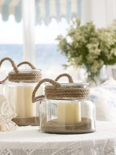 Love these beachy lanterns by Ralph Lauren. Great for indoor, outdoor, or table centerpieces