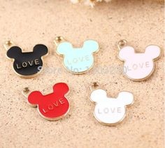 New Floating Locket Charms Diy Trendy Animals Metal 50pcs/lot Alloy Gold-plated Drop Oil Love With Cartoon Mouse Head Pendants