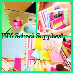 DIY: School Supplies  Personalize notebooks, binders, folders, and even pens!  All you need is Washi tape, and creativity! :) Link to YouTube channel: http://youtu.be/FUSlWWQVTJg