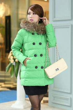 Down Coat Real Fur Collar, White Duck Feather YRB0009 choice of 4 colors