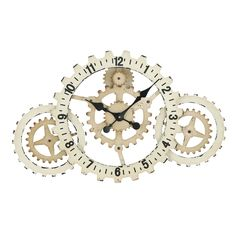 Benzara Metal Gears Wall Clock with Elegant Grandeur and Majestic Charm (Metal Wall Clock), Beige Off-White (Iron)
