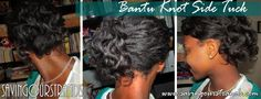 Bantu Knot Side Tuck on relaxed hair, protective style, low manipulation style on @SavingOurStrands SOS Hair