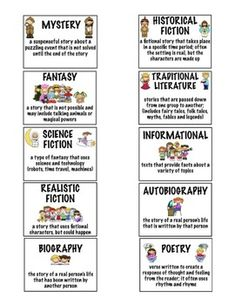 Genre and Subgenre Identification - FREE bookmarks and table include each major genre, clear definitions, and unique codes! (I can use these for independent reading and my homeroom class!!!)