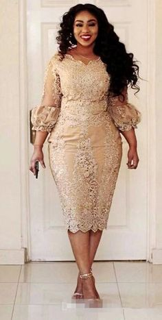 3d717515aef Sexy African Champagne Lace Plus Size Evening Dresses 2017 Modest Vintage  Tea Length 3 4