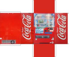 Vending-machine obsessive creates papercraft version of his beloved Coke machine / Boing Boing Coke Machine, Vending Machine, Paper Furniture, Barbie Furniture, Paper Toys, Paper Crafts, Paper Doll House, Mini Things, Barbie House