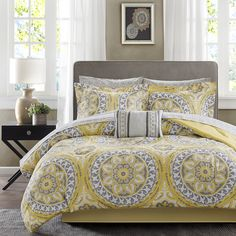 For a modern update to your space, the Madison Park Essentials  Savanah Complete Bed and Sheet Set can provide a whole new look with warm colors.