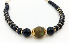 Onyx Labradorite Gold Filled Chain Stones Necklace Bar by MorMalas