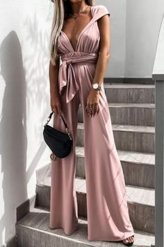 Women Deep V Neck Belt Jumpsuit 2021 Summer Sleeveless Backless Playsuits Fashion New Sexy Casual Loose Wide Leg Slim Bodysuits Jumpsuit Outfit, Black Jumpsuit, Backless Playsuit, Cotton Style, Playsuits, Clubwear, Jumpsuits For Women, Ideias Fashion, Pompeii