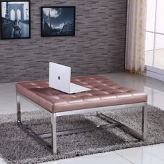 Signature Designs Royal Modern Stainless Steel Tufted Bench Ottoman - Overstock™ Shopping - Great Deals on Ottomans