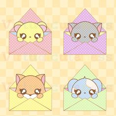Kawaii Animals Envelopes - Happy Mail Clipart, Cute Mail, Digital Stickers, Chibi Animals, Post Office, Fun Free Commercial and Personal Use